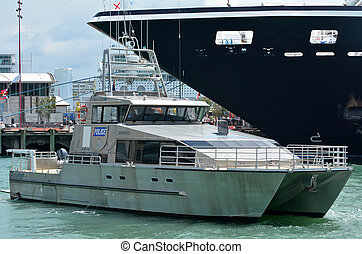 Auckland Police Maritime Unit patrol in ports of Auckland -...