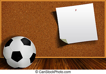 Soccer Ball and Cork Board With Copy Space - Soccer ball and...