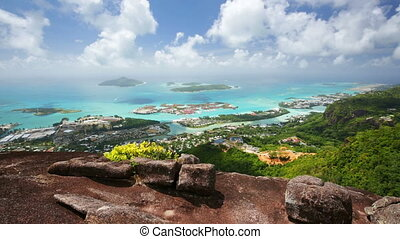 Seychelles Mahe Coastline View - View from Mount Copolia in...