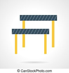 Hurdles flat color vector icon - Running with steeplechase,...