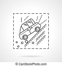 Car accident in the mountains line vector icon - Automobile...