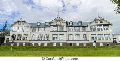 Scandinavian School Building - Old wooden school building in...