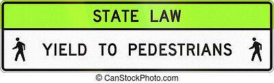 United States MUTCD crosswalk road sign - Yield to...