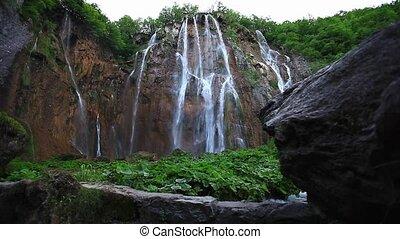 beautiful mountain waterfall on Plitvice lakes in Croatia