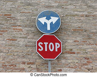 Stop sign and turn left or turn right - Regulatory signs,...