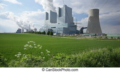 Power Stations In Green Landscape - Two coal-fired power...