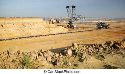 Pit Mine Excavator Time Lapse - Time Lapse sequence of a...