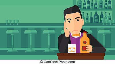 Sad man with bottle and glass.
