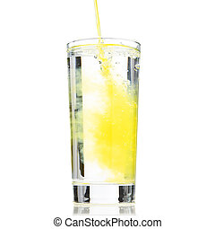 Orange Cordial - Glass of water been diluted to orange drink