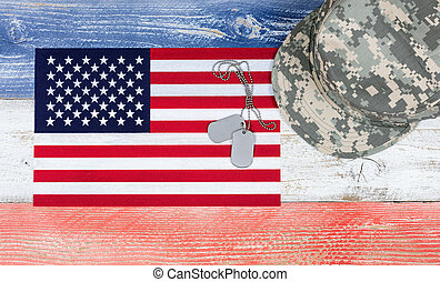USA national colors with flag and military cap plus ID tags...