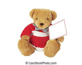 Teddy bear with a blank note - teddy bear holding a blank...
