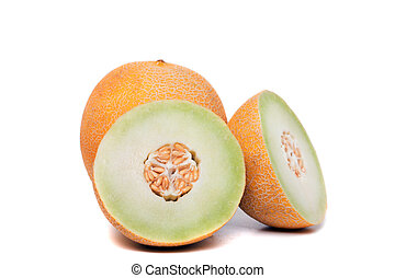Close up view of a honeydew melon isolated on a white background.
