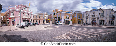 Outdoor view of the typical architecture of the city of Loule, Portugal.