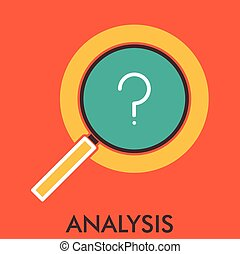 Analysis Research magnifier Line icon with flat design...