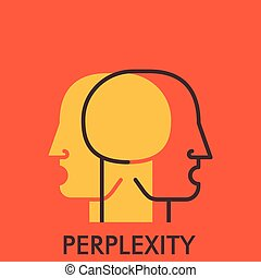 Perplexity. Line icon with flat design elements. Flat icon....