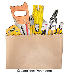 Work tools - Shopping bag with a different work tools...