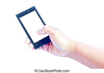 blank screen mobile phone in female hand