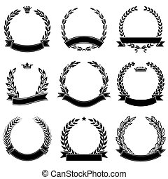 Set of laurel wreaths with ribbons