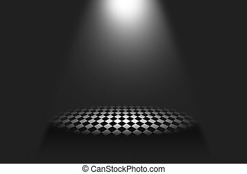 Spot Lights illuminate the podium. Illustration.