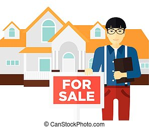 Real estate agent offering house - An asian real estate...
