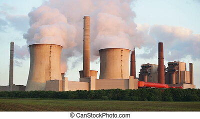 Power Station In The Evening - Sequence of a coal-fired...