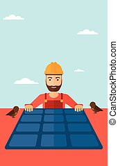 Constructor with solar panel - A hipster man with the beard...