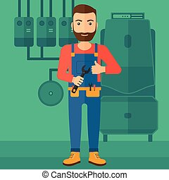 Cheerful repairer with spanner - A hipster man with a...