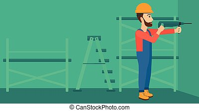 Constructor with perforator - A hipster man with the beard...