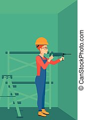 Constructor with perforator - A constructor drilling a hole...