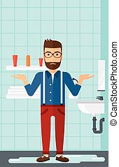 Man in despair standing near leaking sink - A hipster man in...