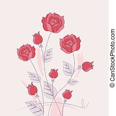 Vector red roses