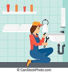 Woman repairing sink. - A woman sitting in a bathroom and...