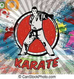 Karate poster design Silhouette of karateka on abstract...