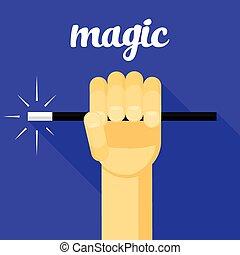 magic vector illustration, magic wand in hand, hand, magic...