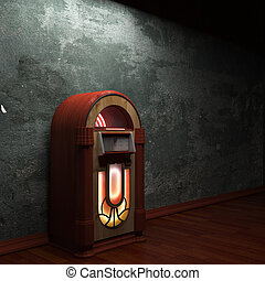 old concrete wall and jukebox - old concrete wall and...