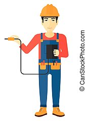 Electrician with electrical equipment. - An asian...