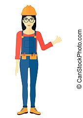 Builder showing thumbs up - An asian female young builder in...