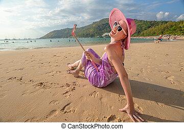 Happy tourist in Thailand