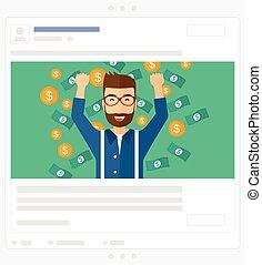 Happy man standing under flying money Social media post - A...