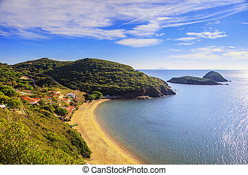 Elba island, Innamorata Beach and Gemini islets view...