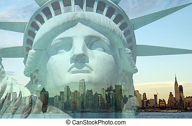 double exposure new york city cityscape skyline with statue...