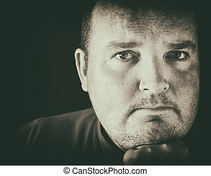 black and white of a male in his 30s overweight - photo...