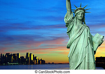 new york city at night tourism concept