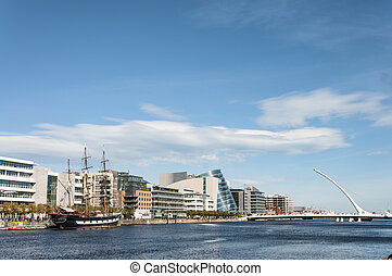 Dublin, Ireland - Aug 1, 2015: The Samuel Beckett Bridge...