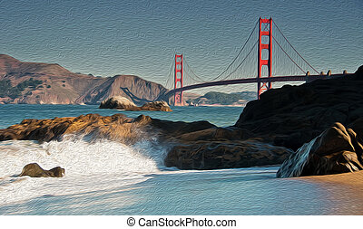oil painting showing beautiful san francisco golden gate bridge