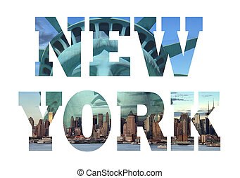 New York city name - USA travel destination sign on white...