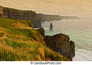 oil painting sowing the cliffs of moher in ireland