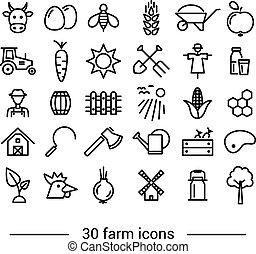 farm line icons - thirty farm line icons
