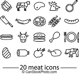 twenty line meat icons  - collection of line meat icons
