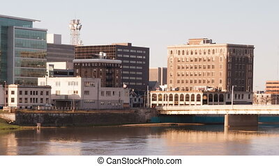 Dayton Ohio Downtown City Skyline Great Miami River - The...